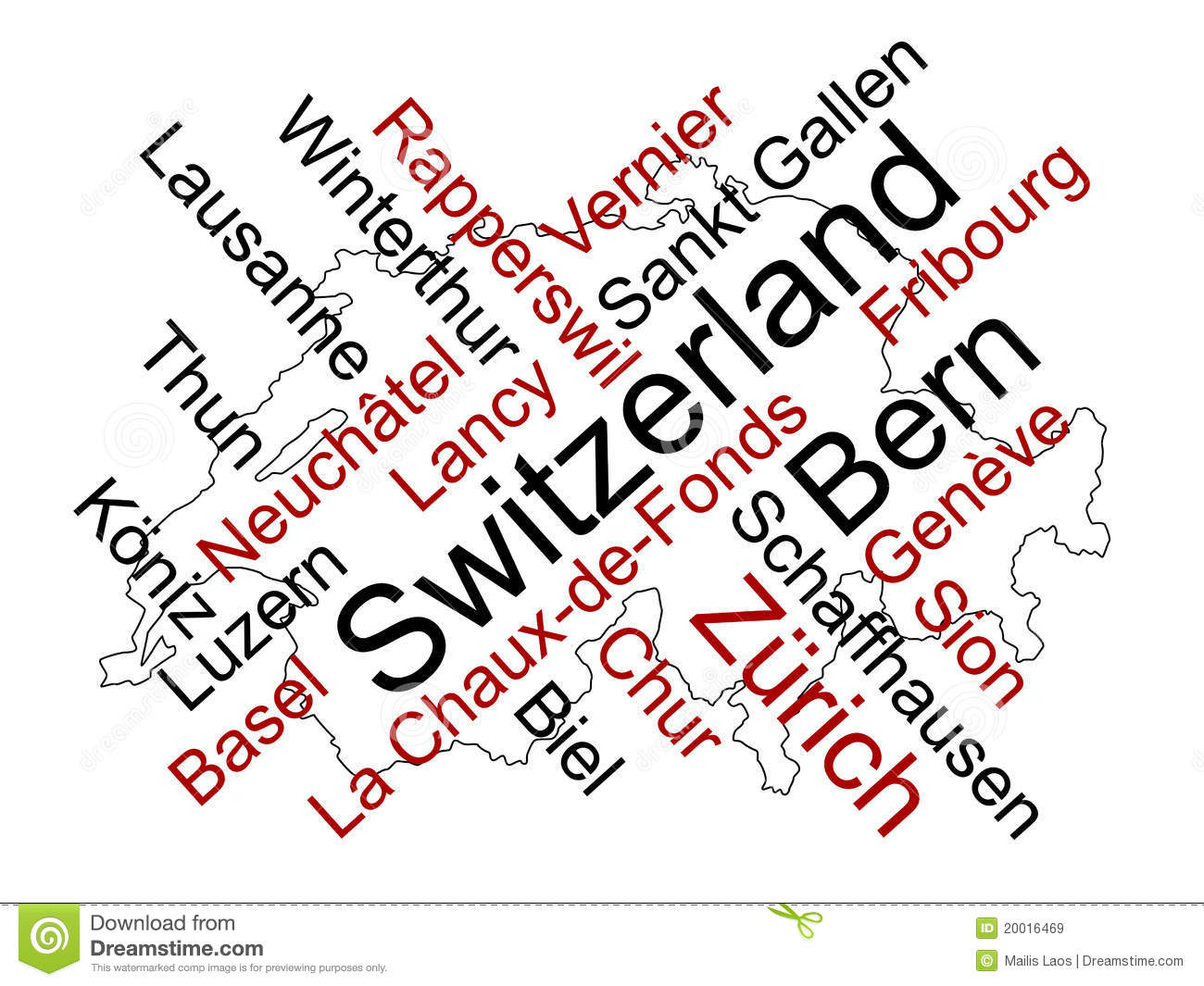 Switzerland map and cities stock vector. Illustration of europe ...