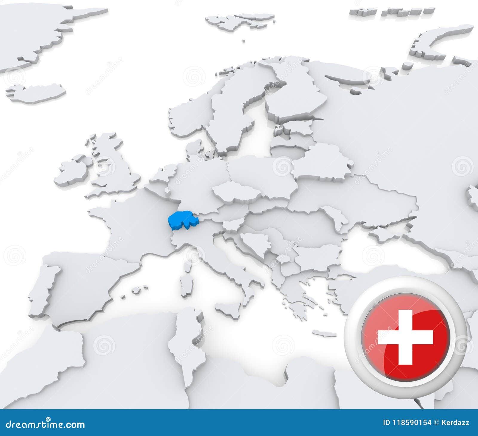 Switzerland On Map Of Europe Stock Illustration Illustration Of