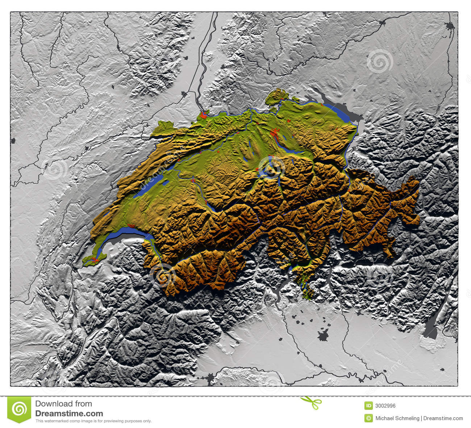 Switzerland Elevation Map.Switzerland Relief Map Stock Illustration Illustration Of Chart
