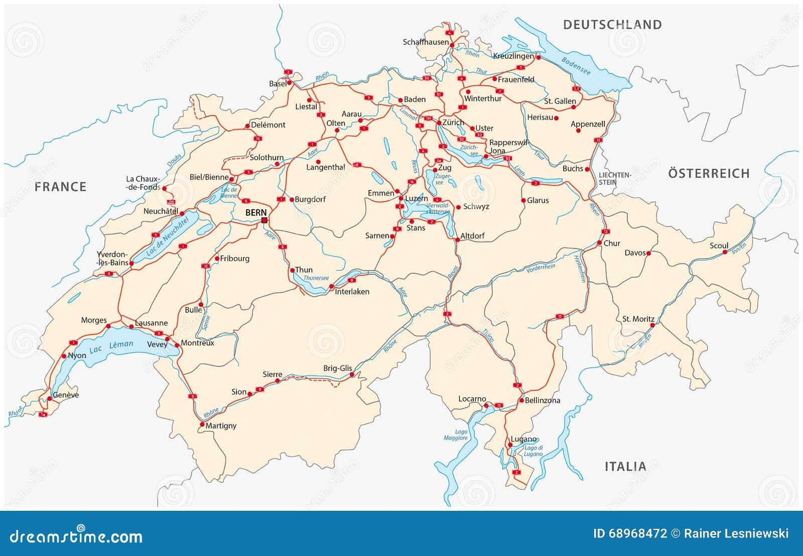 Switzerland road map stock illustration Illustration of abstract