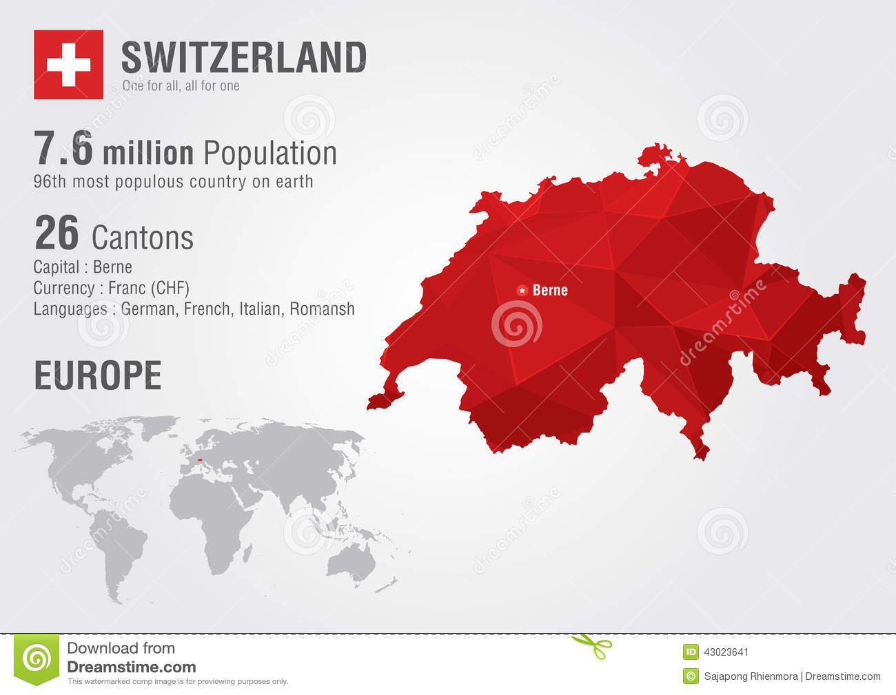 Switzerland World Map Switzerland World Map With A Pixel Diamond Texture. Stock Vector  Switzerland World Map