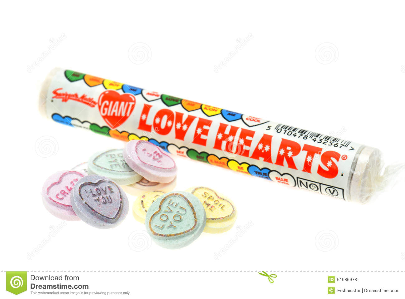 swizzels matlow love heart candy sweets editorial stock photo
