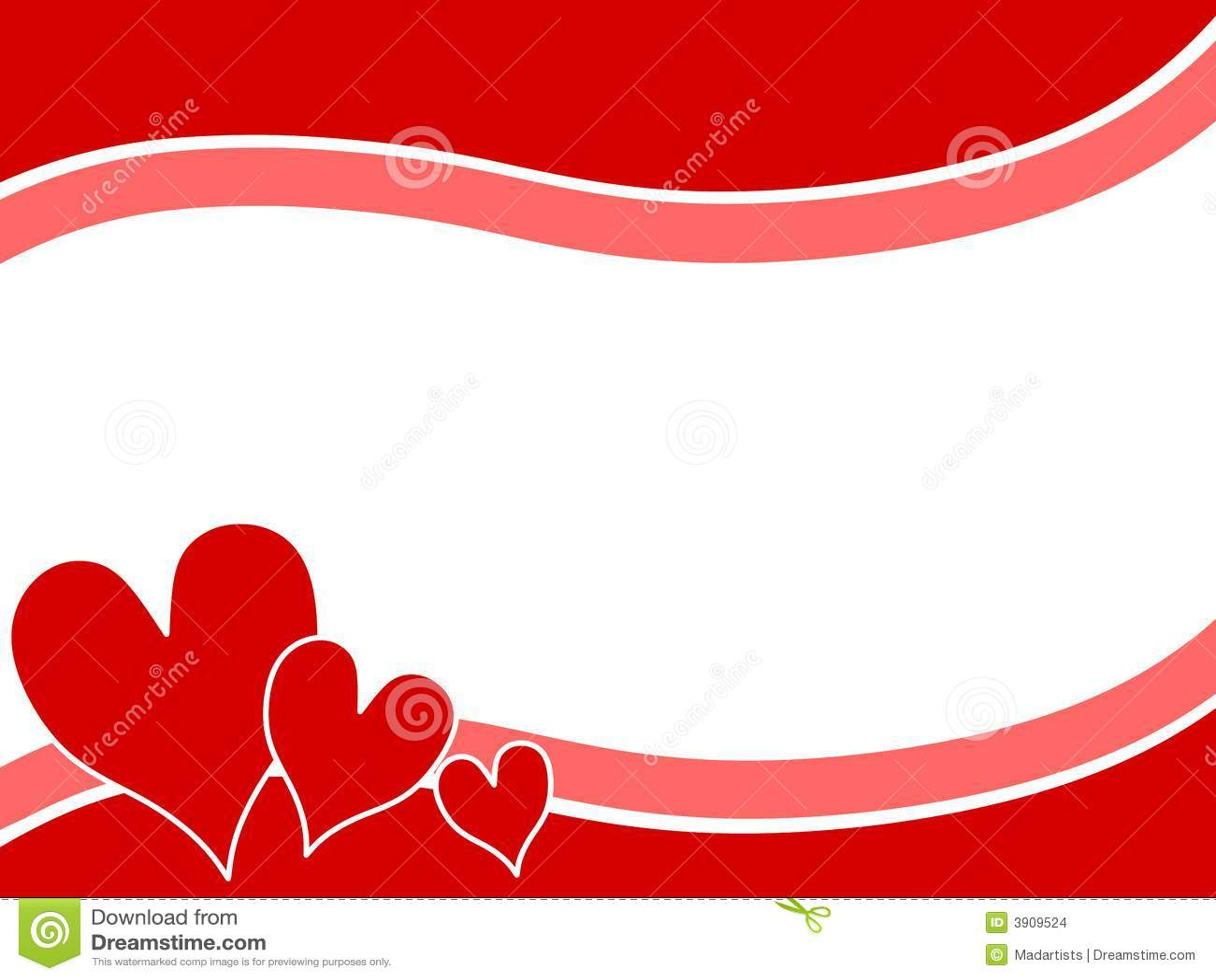 Valentine Heart Borders Swoosh Valentine Hearts Border