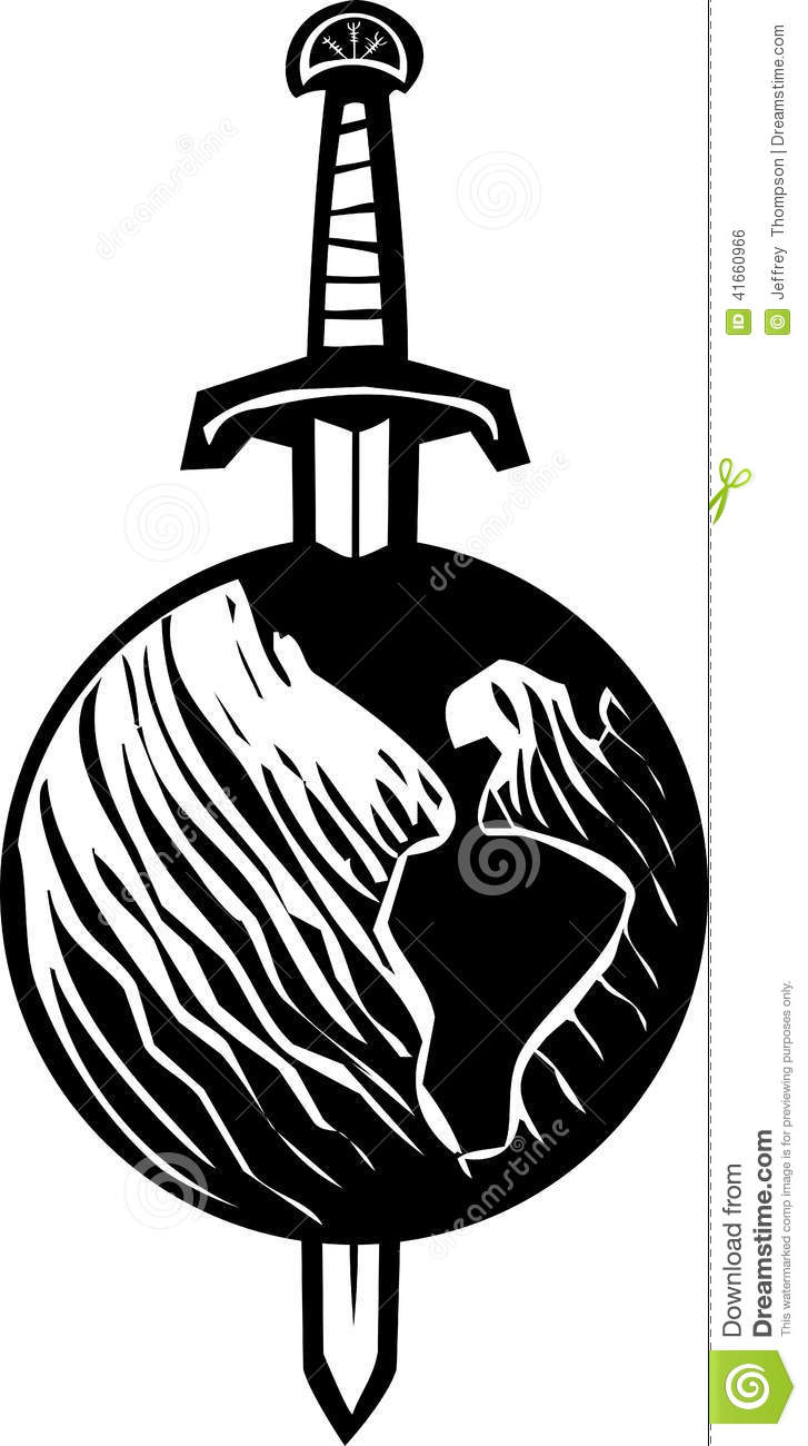 Sword Earth Stock Vector Illustration Of Symbol Tattoo 41660966