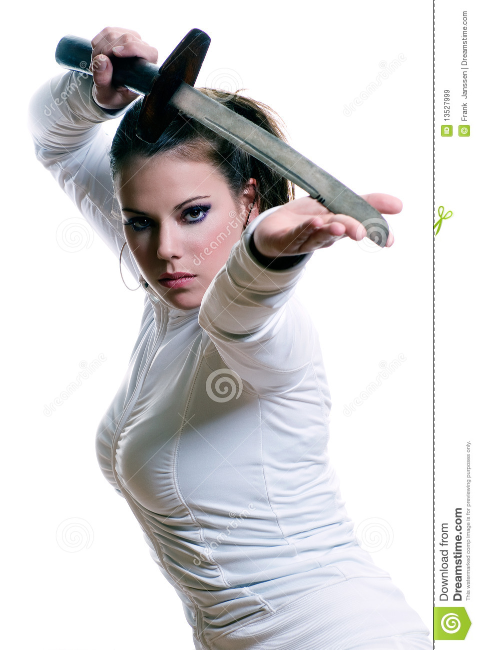 sword girl stock image image of white strength fight 13527999