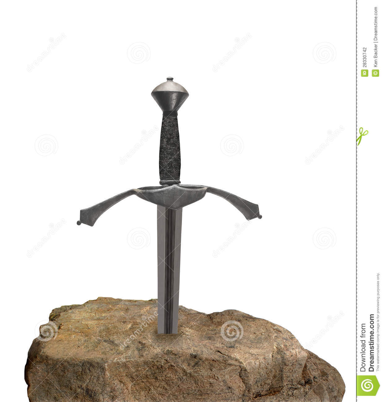 Sword in a stone isolated.