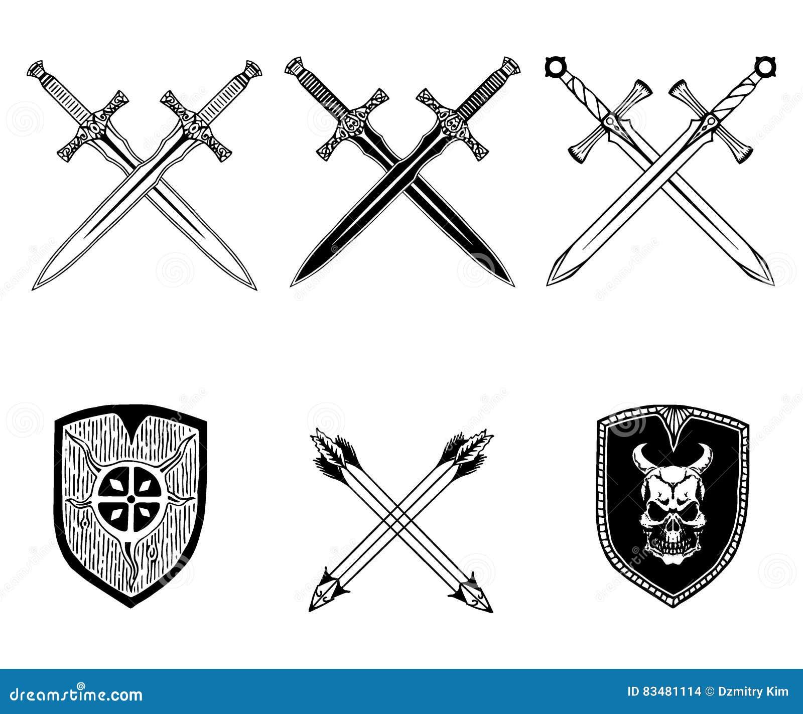sword weapon shield arrow viking set stock vector