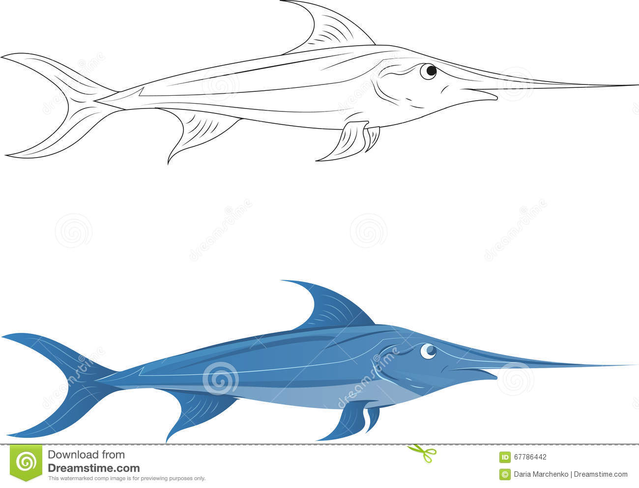 Uncategorized Swordfish Drawing swordfish stock vector image of fish swimming drawing 67786442 royalty free vector