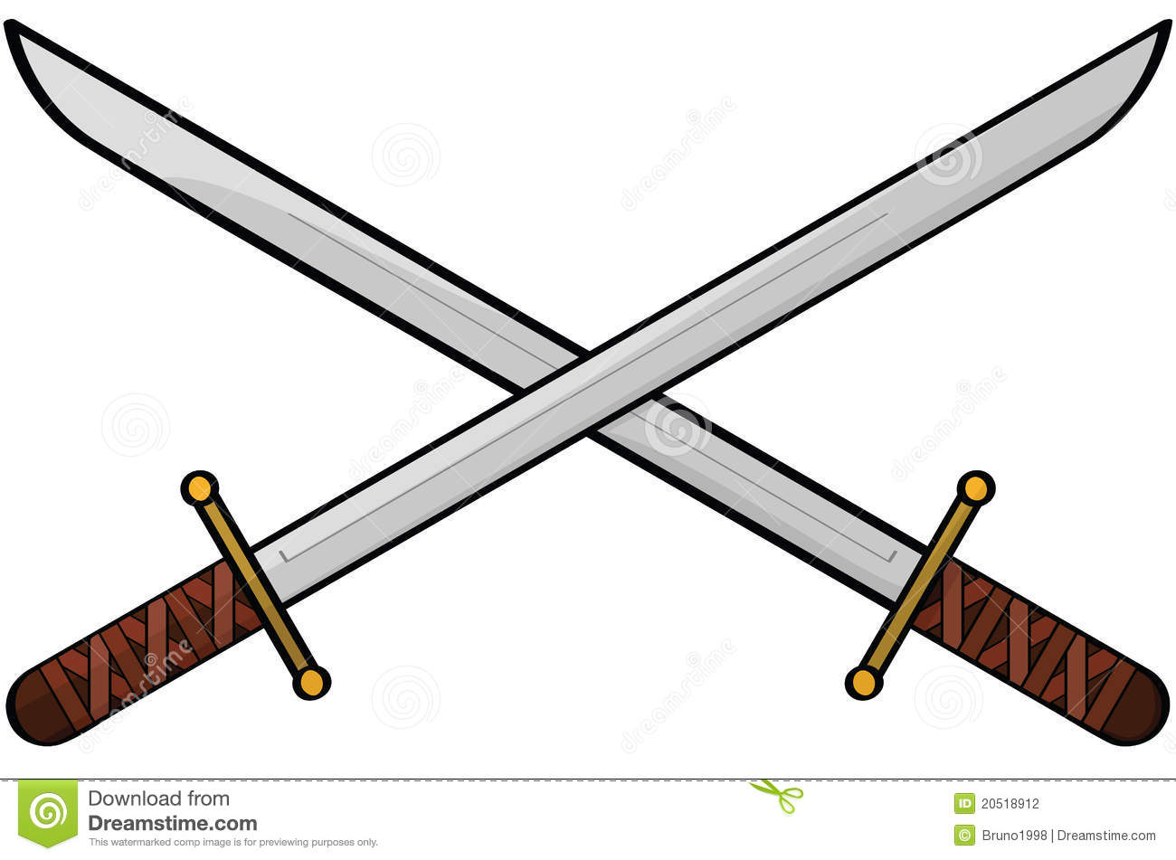 How to draw a two swords crossing