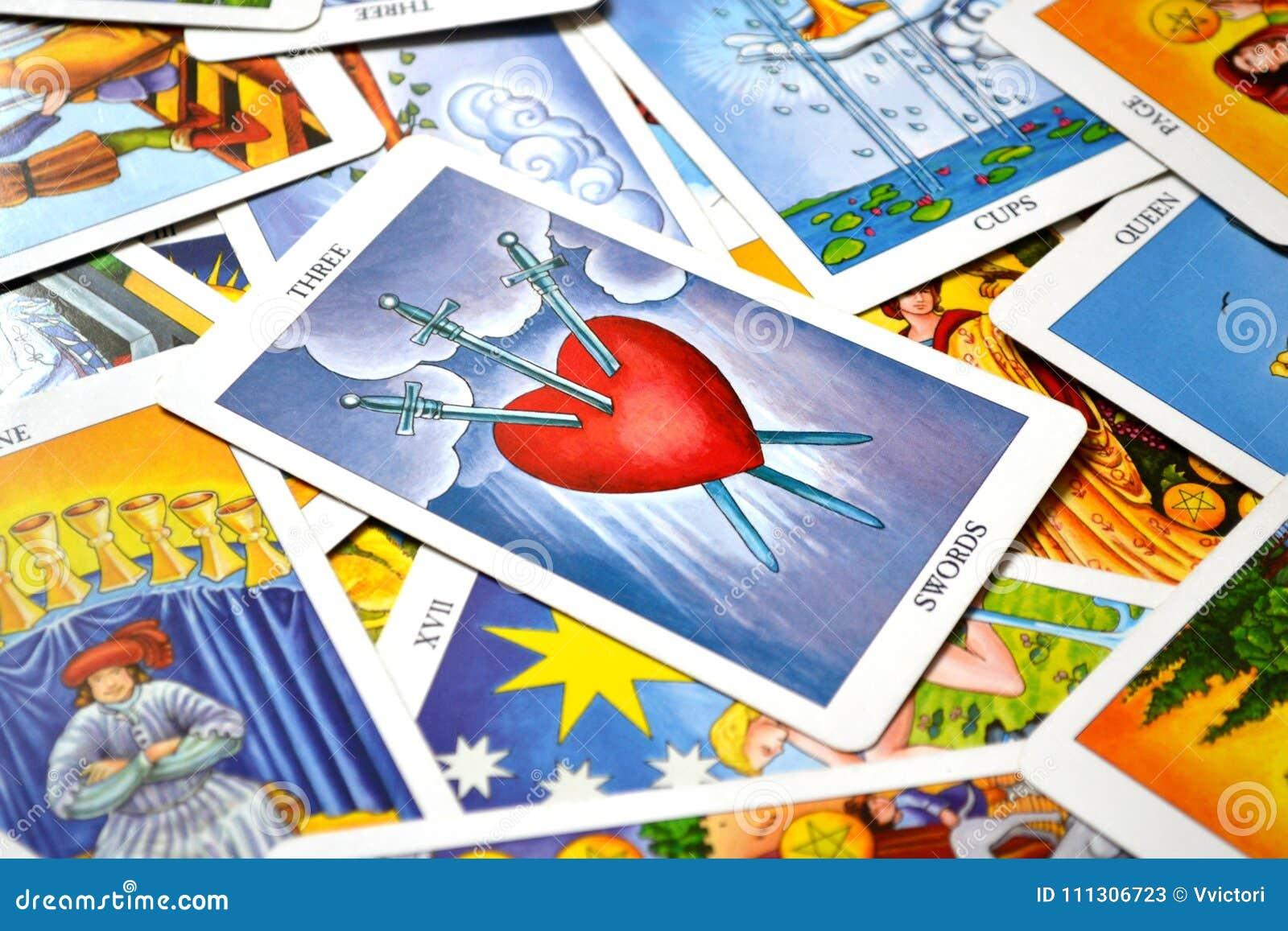 3 of Swords Tarot Card Heartbreak Tears Pain Deep Sadness