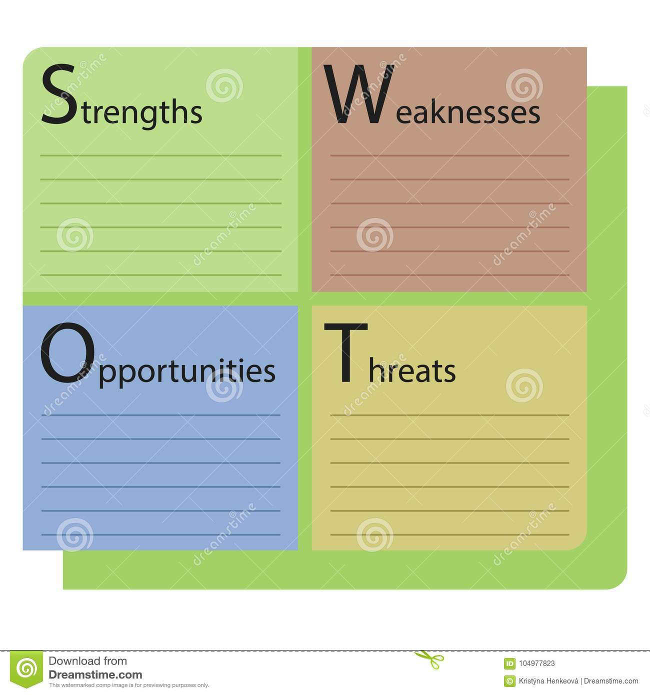 swot analysis color template text strengths weaknesses opportuni