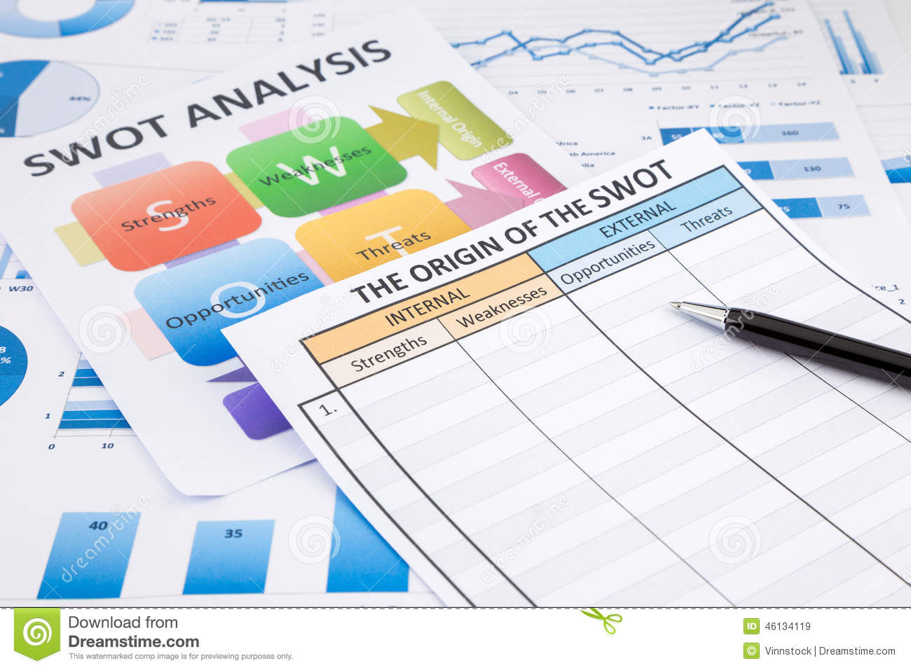 Swot Analysis Document Flow Chart And Business Graphs Stock Image