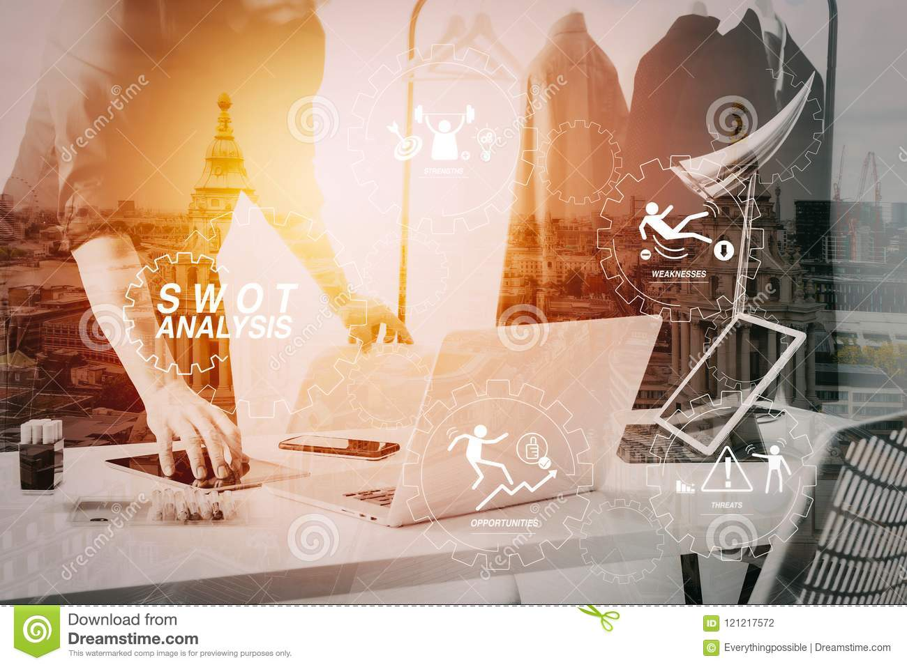 Fashion Designer Talking Mobile Phone And Using Laptop With Digital Tablet Computer In Modern Studio Stock Photo Image Of Swot Mission 121217572