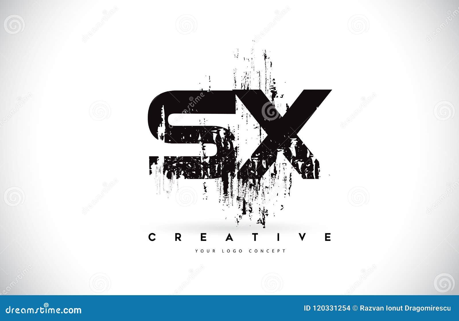 Grunge Camera Vector : Sx s x grunge brush letter logo design in black colors vector il