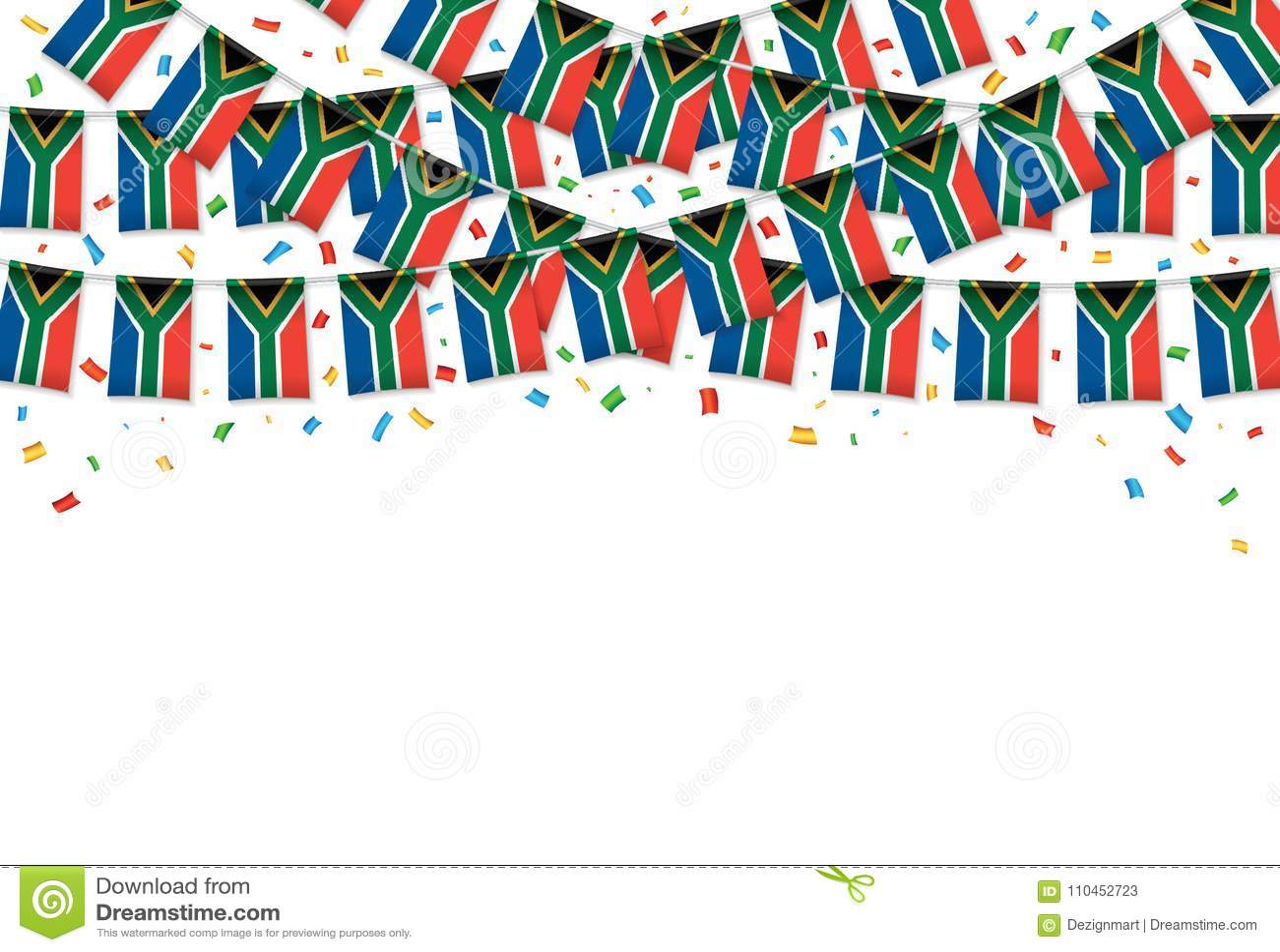 Sydafrika sjunker vit bakgrund för girlanden med konfettier, hängningbunting för självständighetsdagen