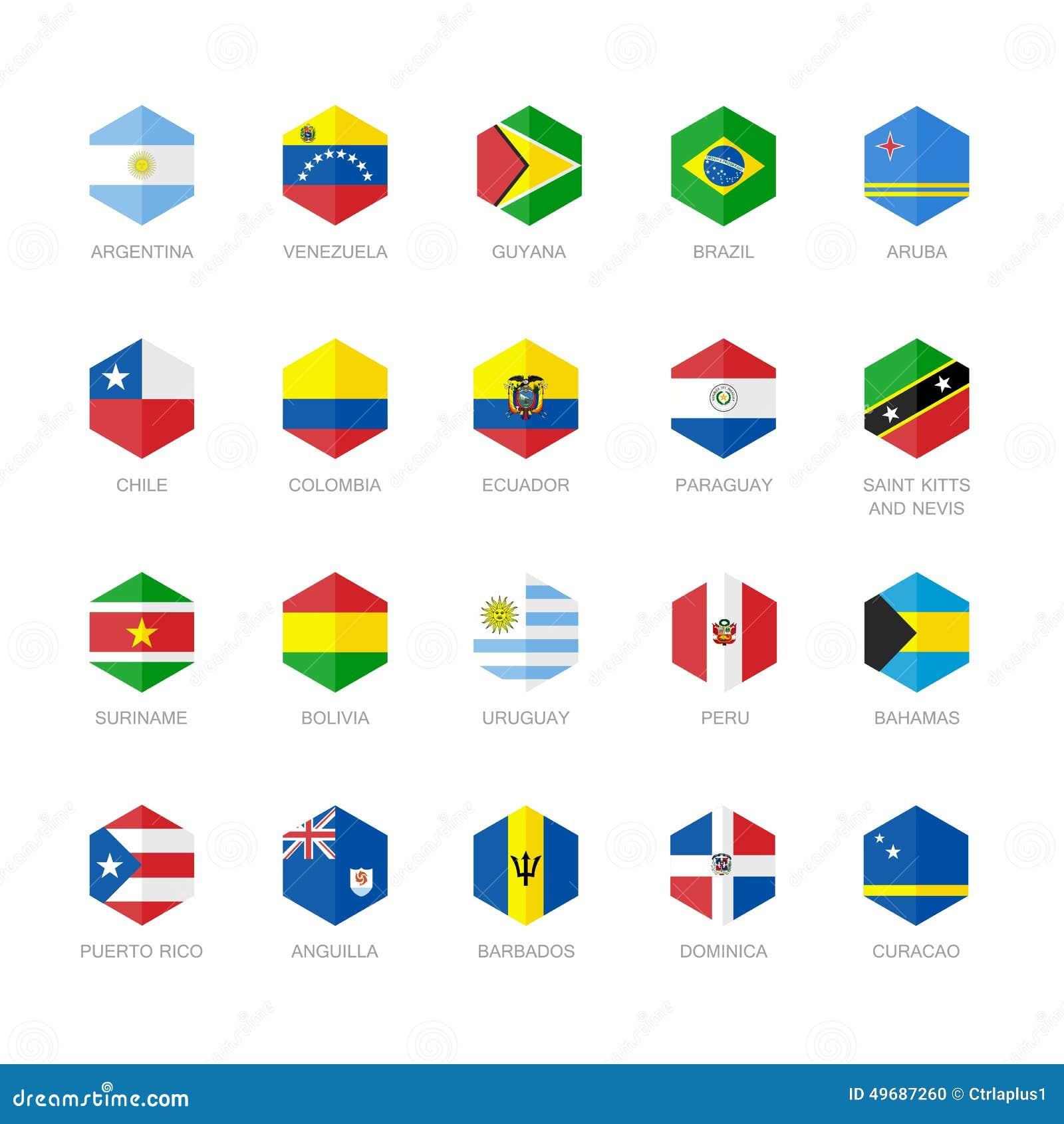 Sydamerika och karibiska flaggasymboler Sexhörningslägenhetdesign