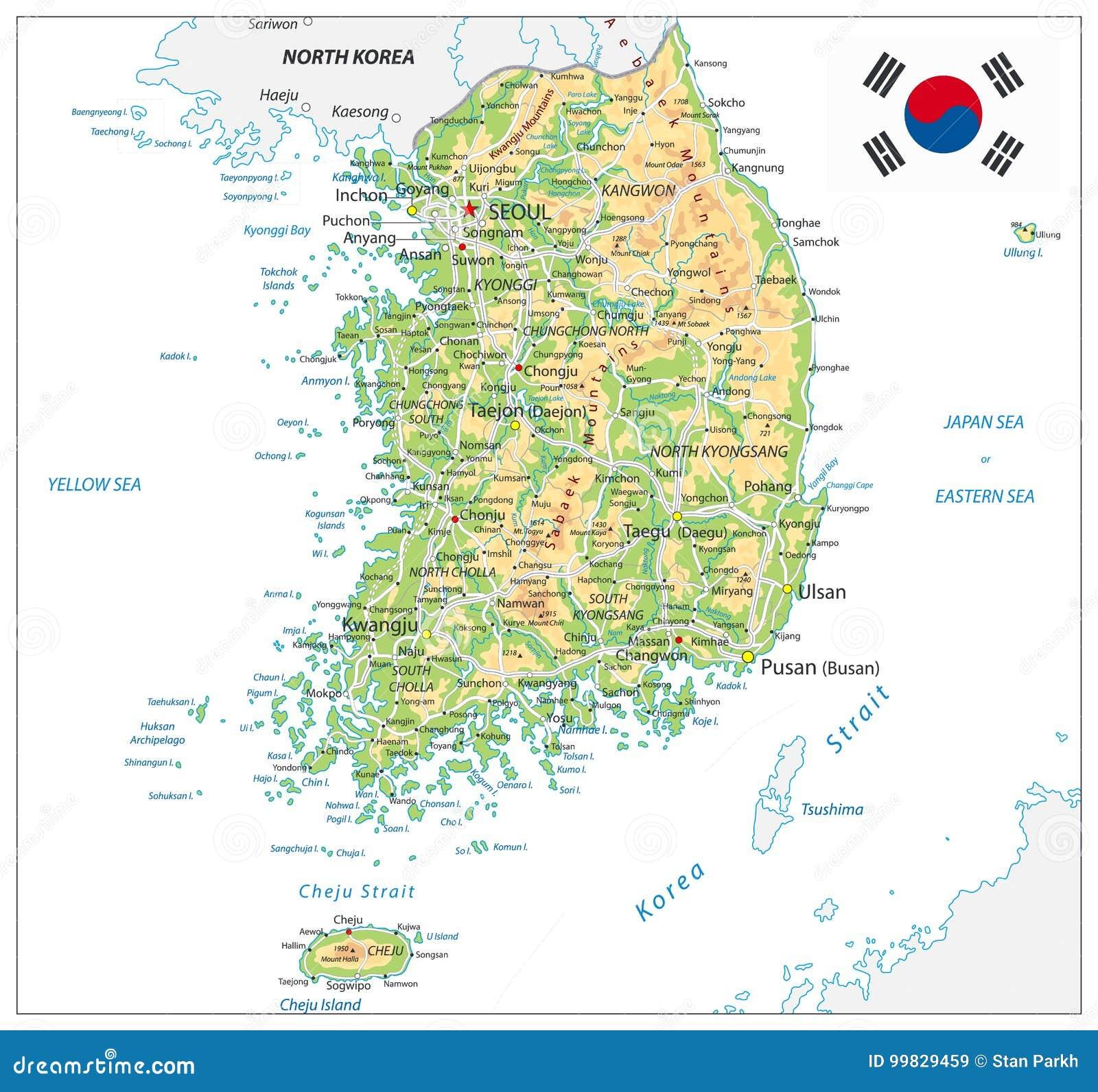 Sydkorea fysisk översikt