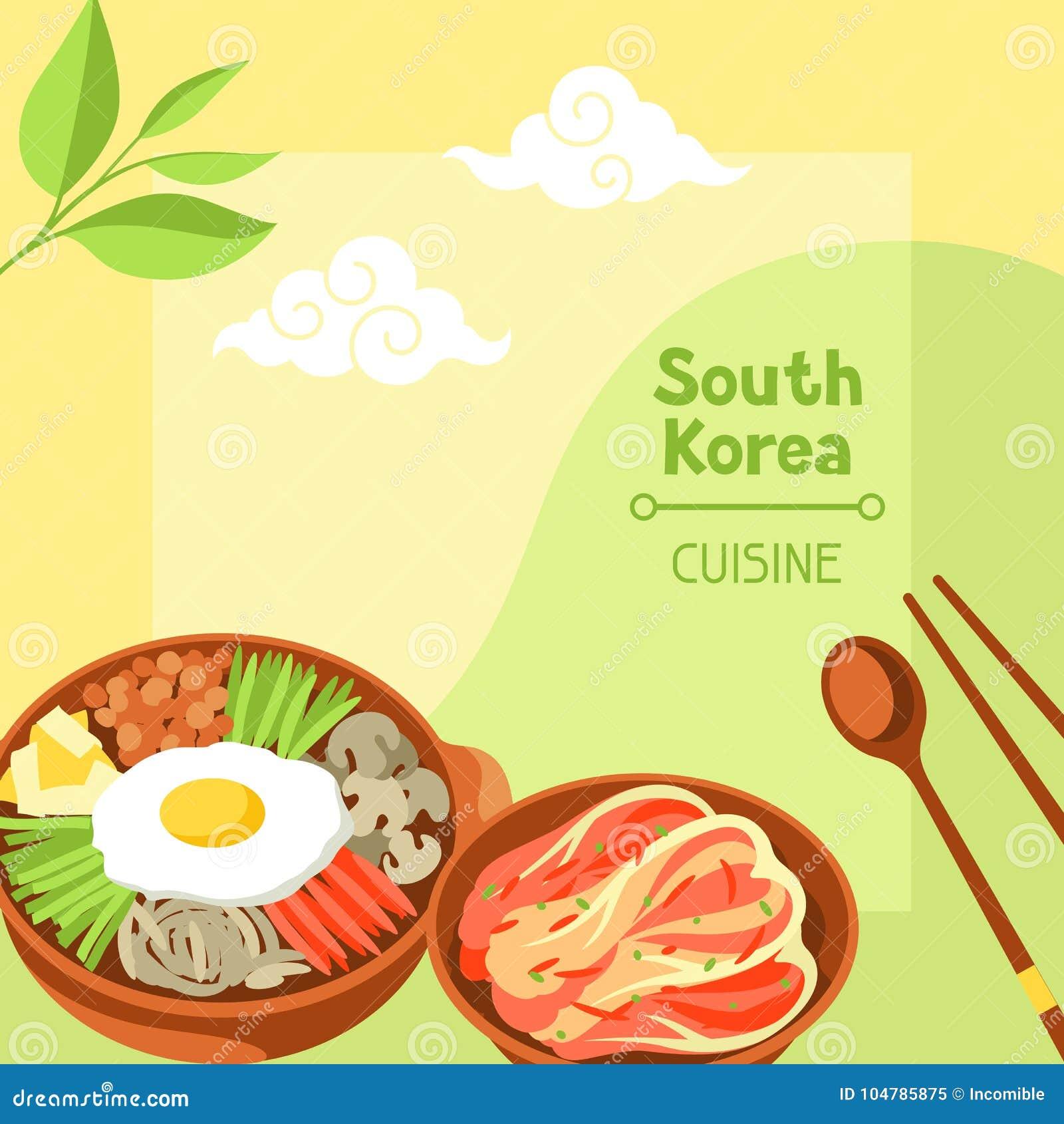 Sydkorea kokkonst Koreansk banerdesign med traditionella symboler och objekt