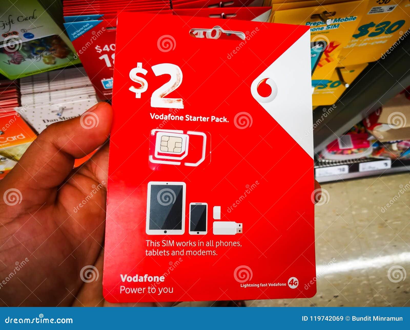 Vodafone Sim Card 2 Dollar Prepaid Starter Pack Works In All
