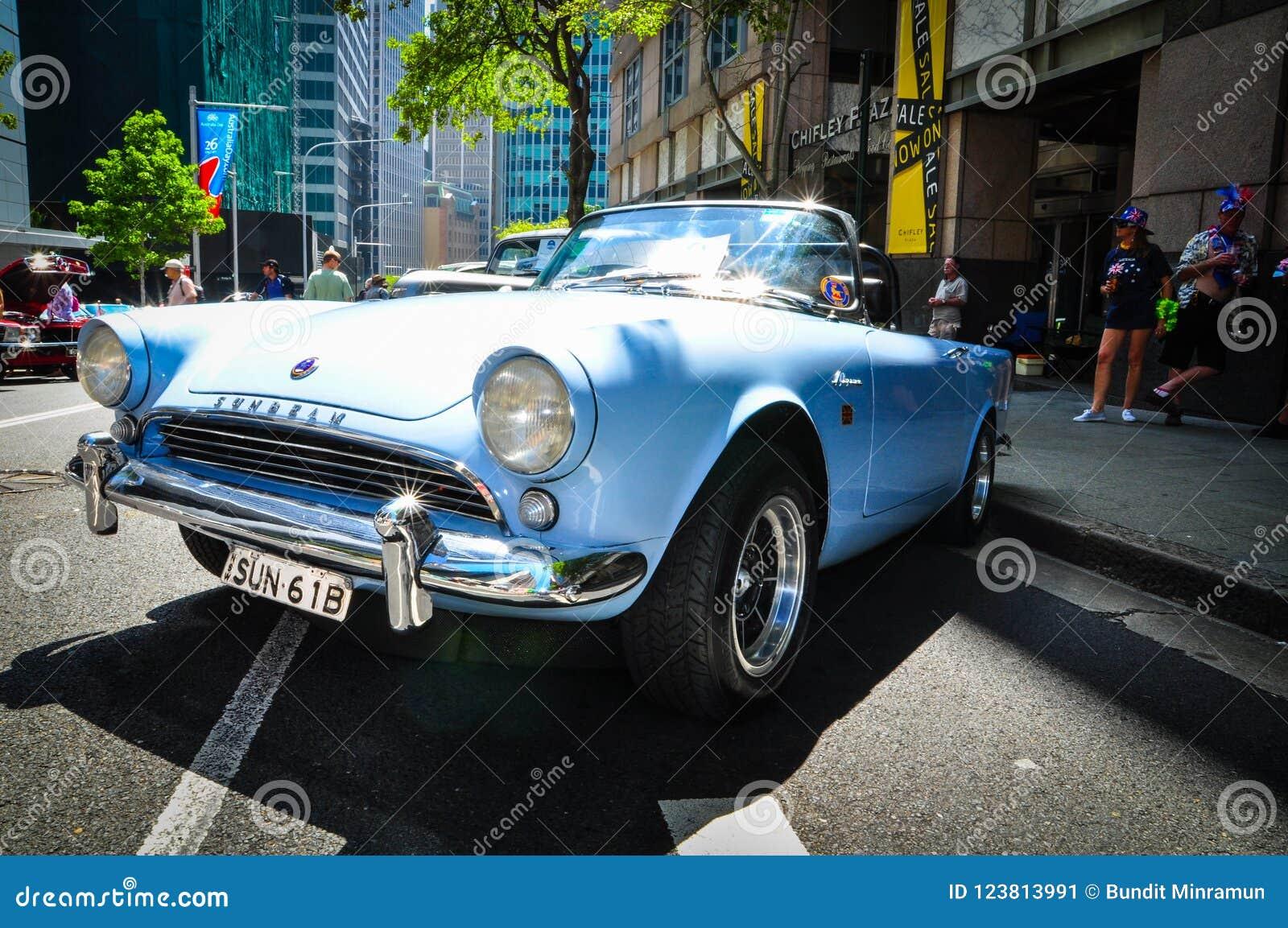 Blue Sunbeam Vintage Car In Classic Motor Show On Australia Day