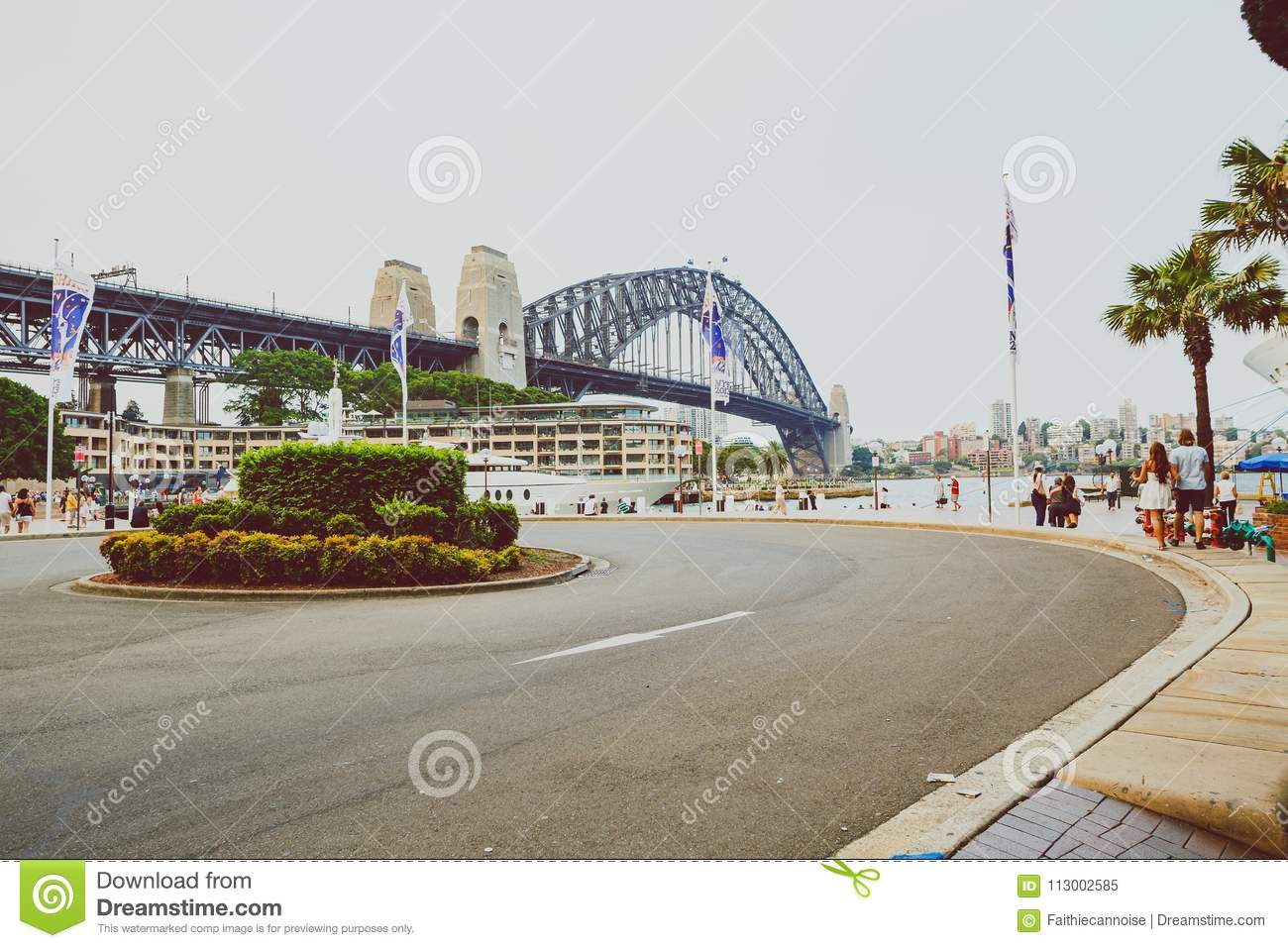 view of sydney harbour bridge from the rocks editorial image - image
