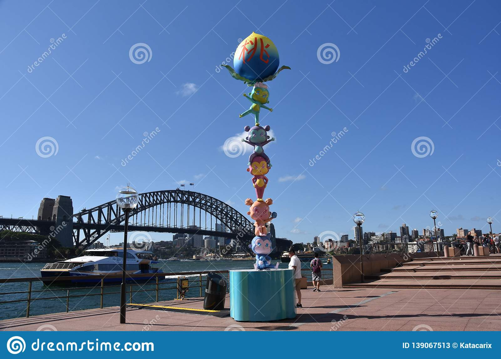 Larger than life lanterns in the shape of Monkey. Chinese zodiac animals at Circular Quay