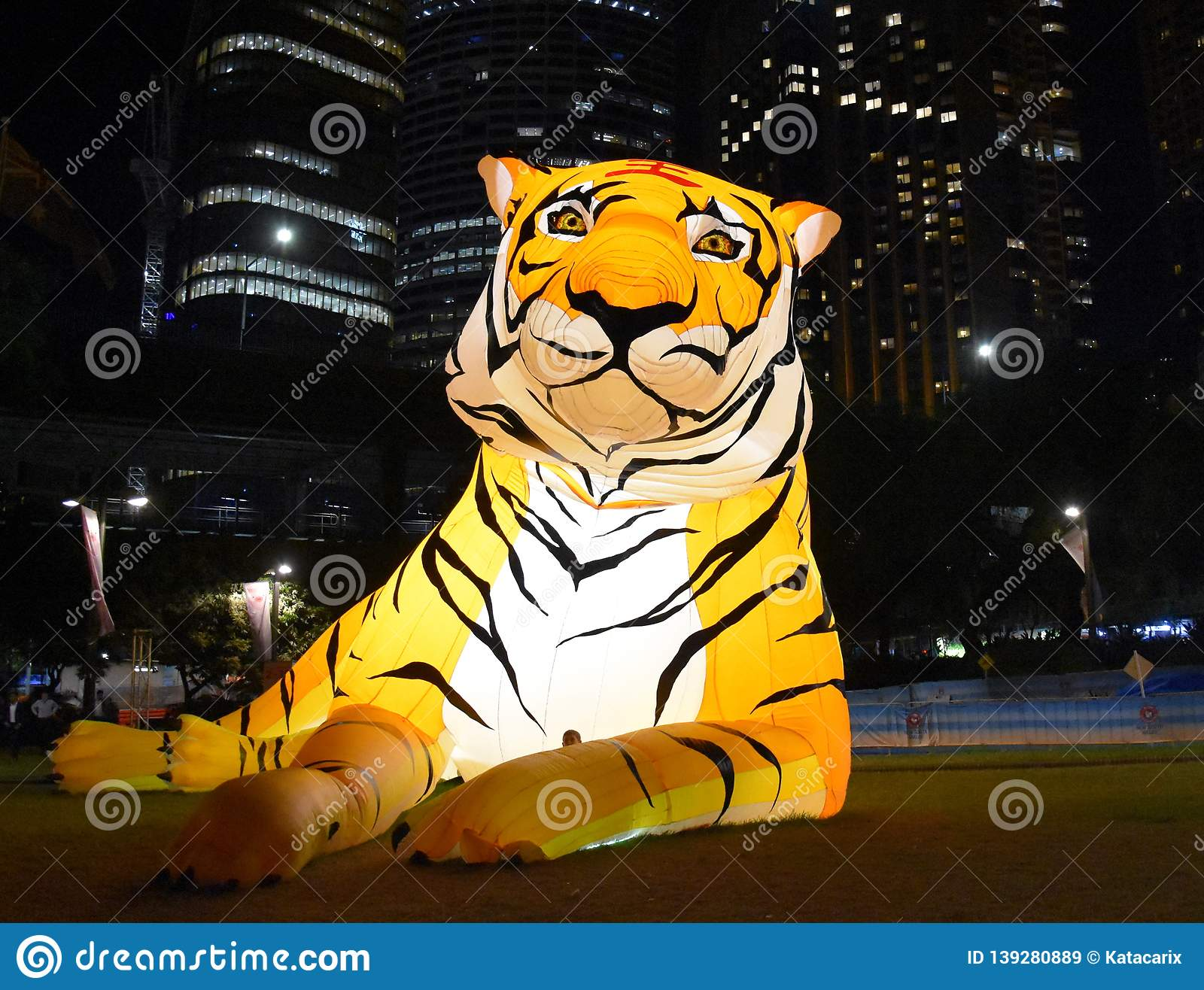 Larger than life lanterns in the shape of Tiger. Chinese zodiac animals at Circular Quay