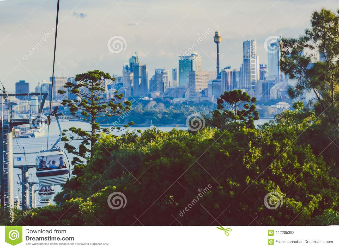 taronga zoo cable car with view over sydney s skyline in the distance editorial photography. Black Bedroom Furniture Sets. Home Design Ideas