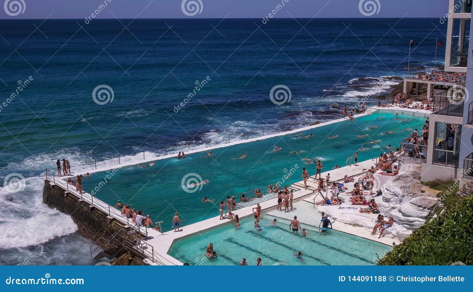 SYDNEY AUSTRALIEN - JANUARI 31, 2016: isbergpölen på bondistranden, Australiens berömda strand