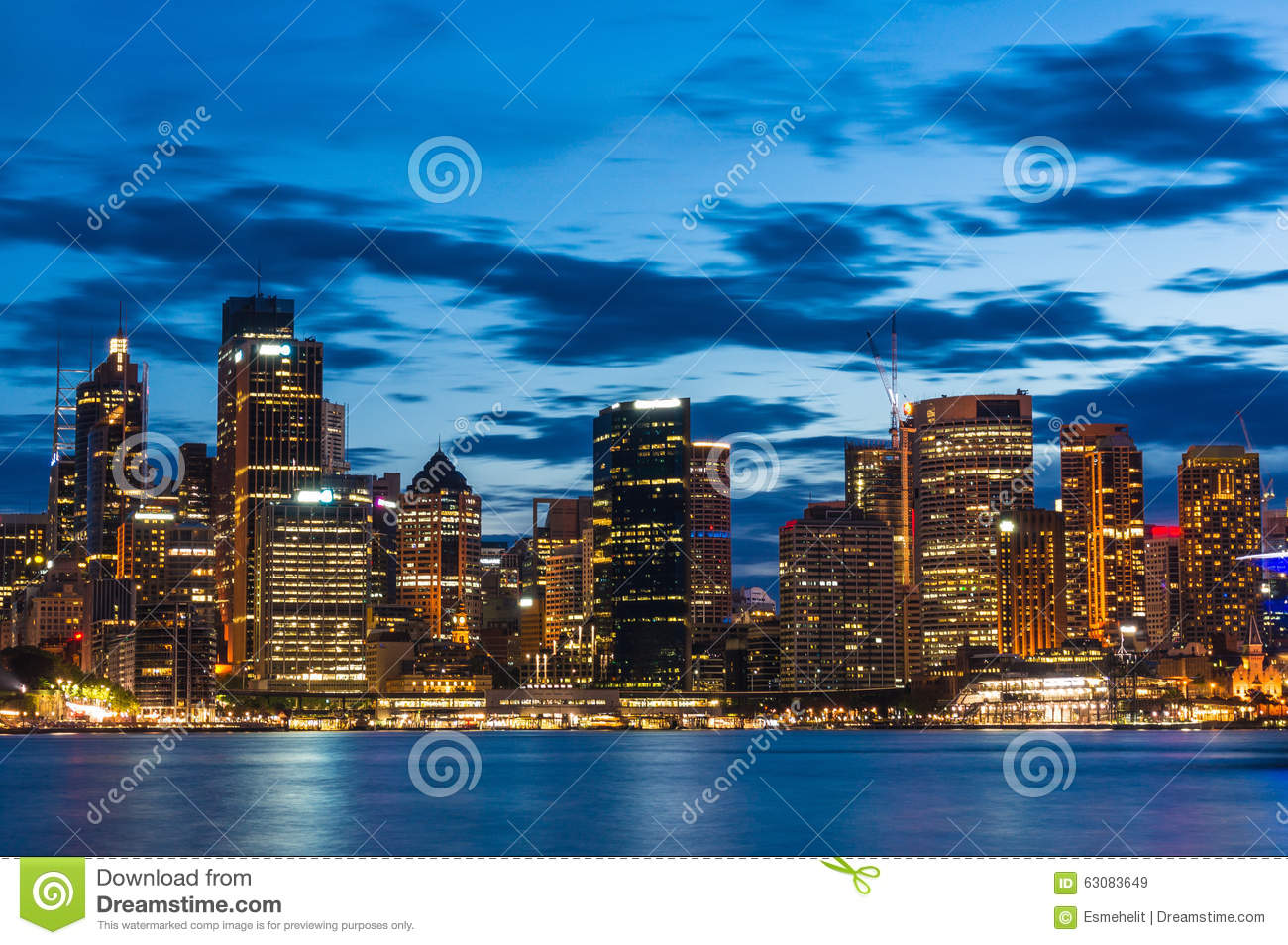 Download Sydney Central Business District La Nuit Image stock - Image du australien, lumière: 63083649