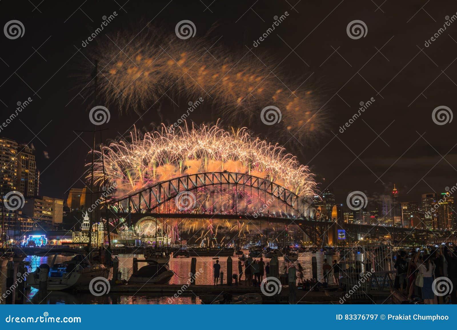 Sydney fajerwerków wigilii nowego roku przedstawienie przy schronienie mostem od Clak parka Sydney Australia