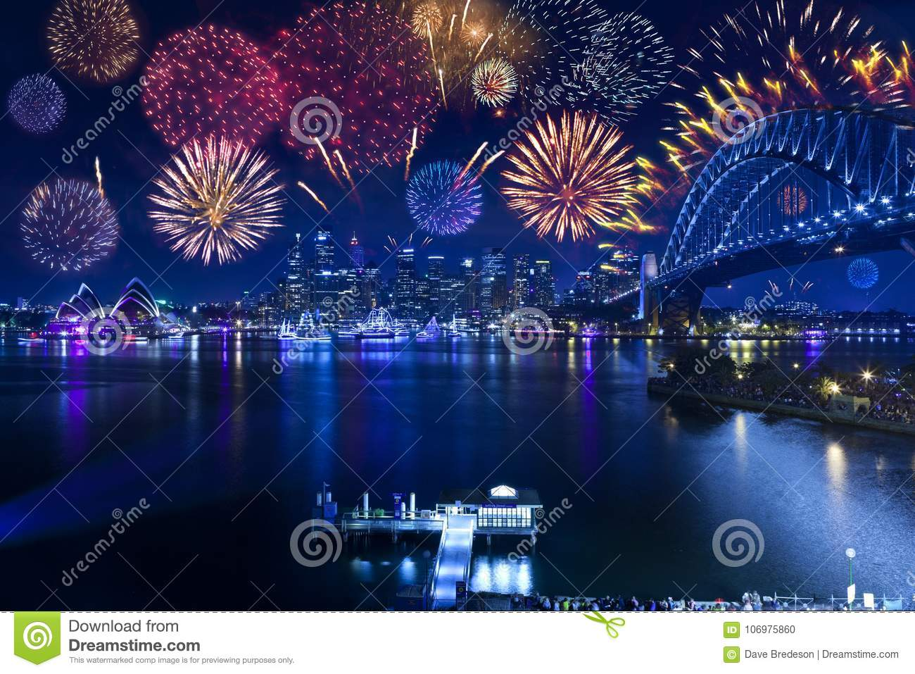 Download Sydney Harbour Bridge Fireworks Opera House Australia Editorial Image - Image of destination, colors: 106975860