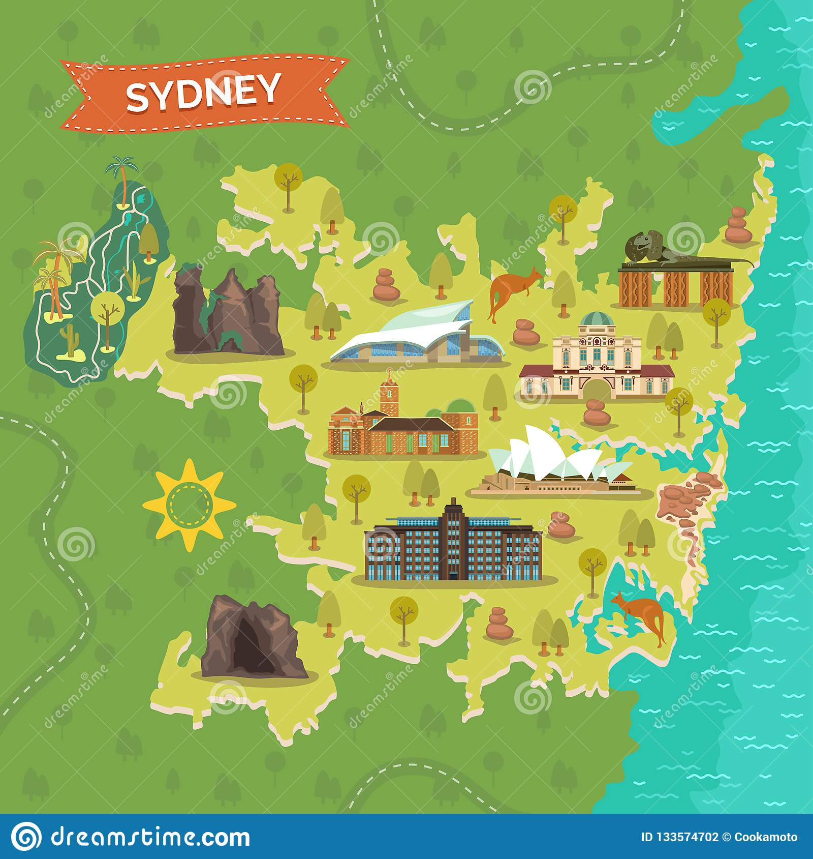 Australia Map Landmarks.Map Of Sydney With Landmarks For Sightseeing Stock Vector