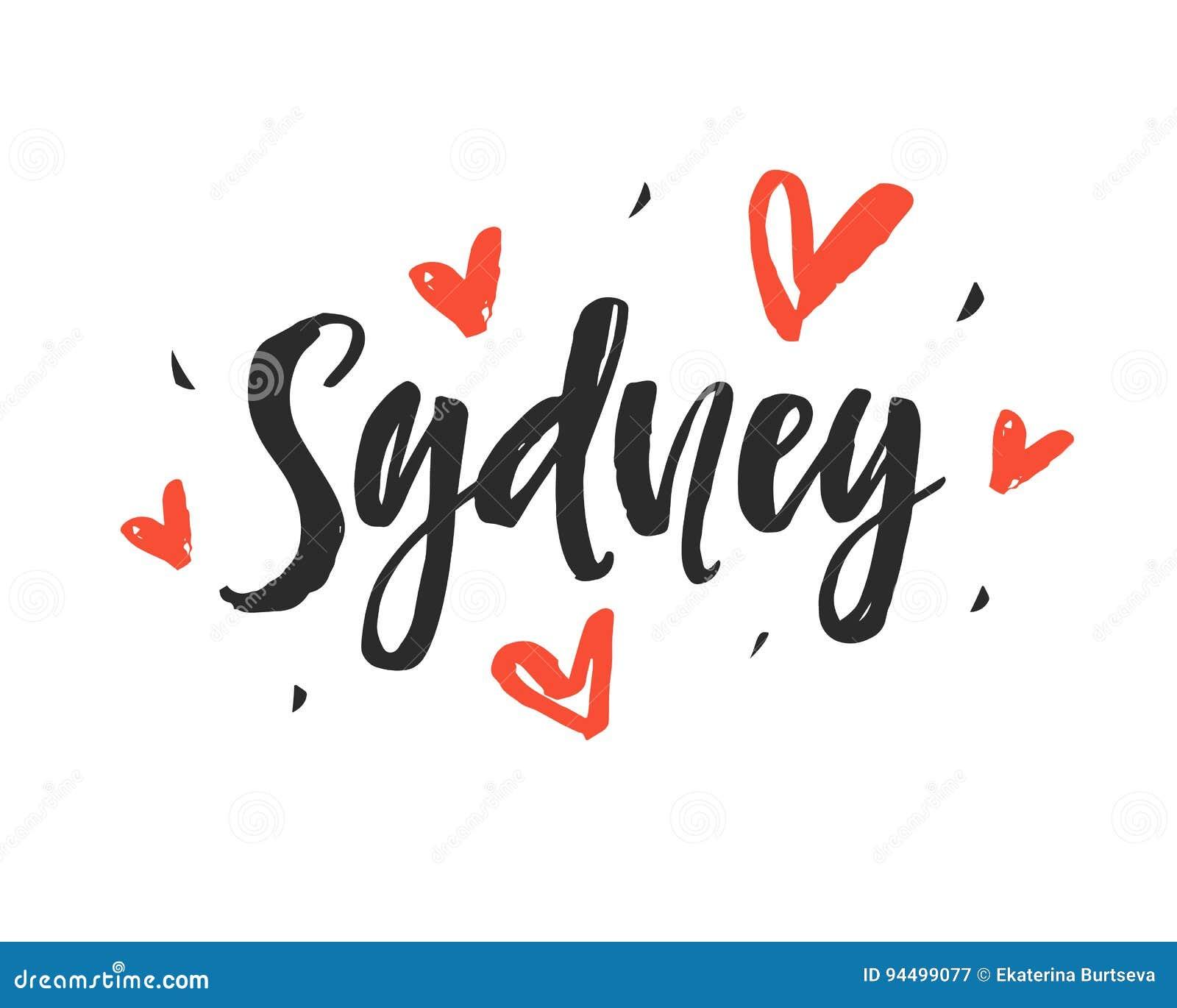 Sydney Modern City Hand Written Brush Lettering Stock Vector