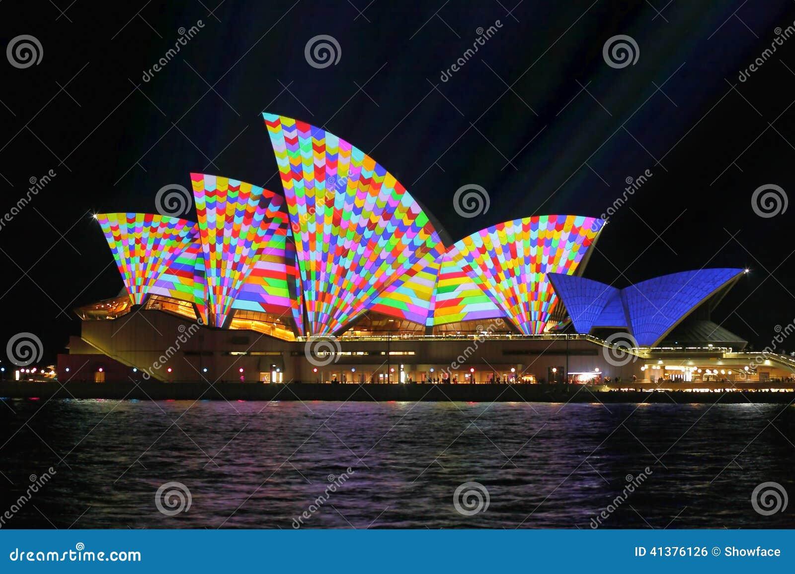 Sydney Opera House In Geometric Colour Editorial Photo