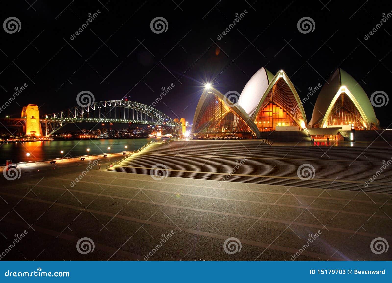 Sydney opera house and harbour bridge - Sydney Opera House And Harbour Bridge Editorial Stock Photo