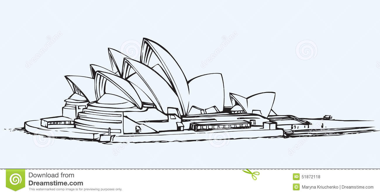 sydney opera house vector sketch side view iconic symbol sidney performing centre bar restaurant freehand ink drawn 51872118
