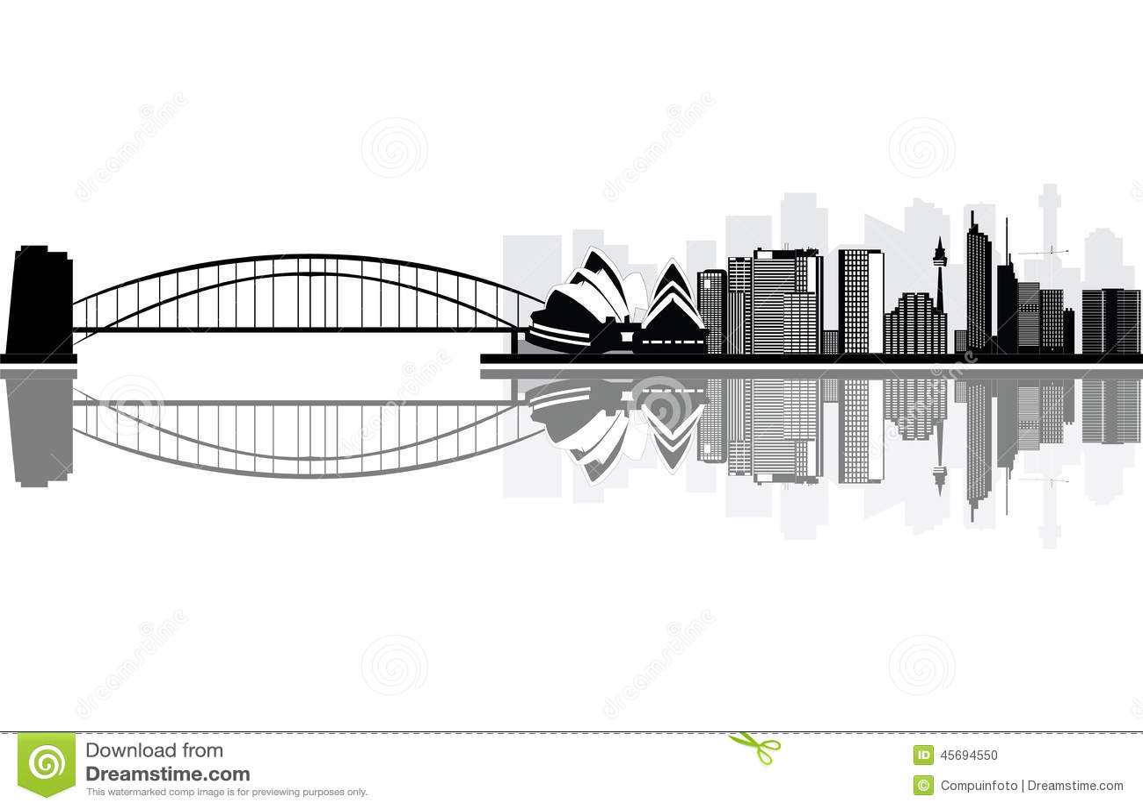 Sydney australian city skyline black and white.