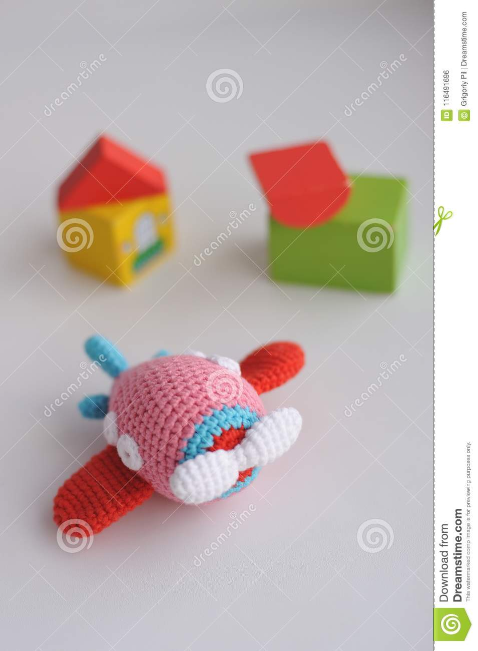 Knitted toy - airplane