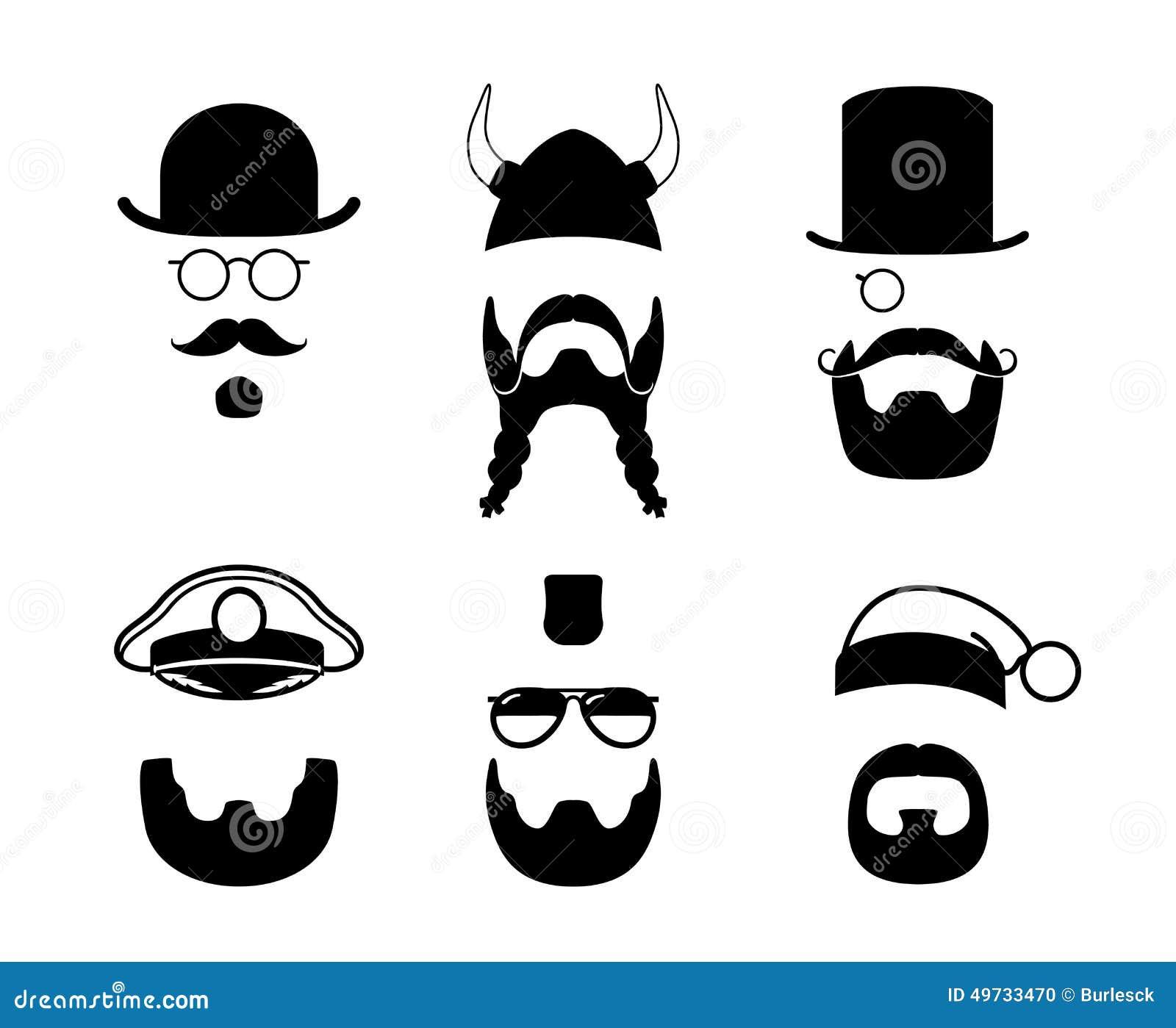 Sylwetek części twarz Wąsy, broda, włosy