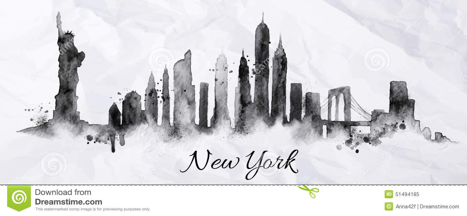 Sylwetka atrament Nowy York