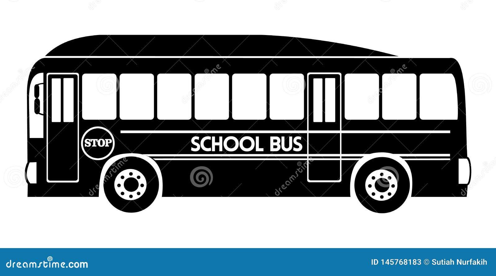 Sylwetka autobusu szkolnego ilustracyjny wektorowy czarny kolor
