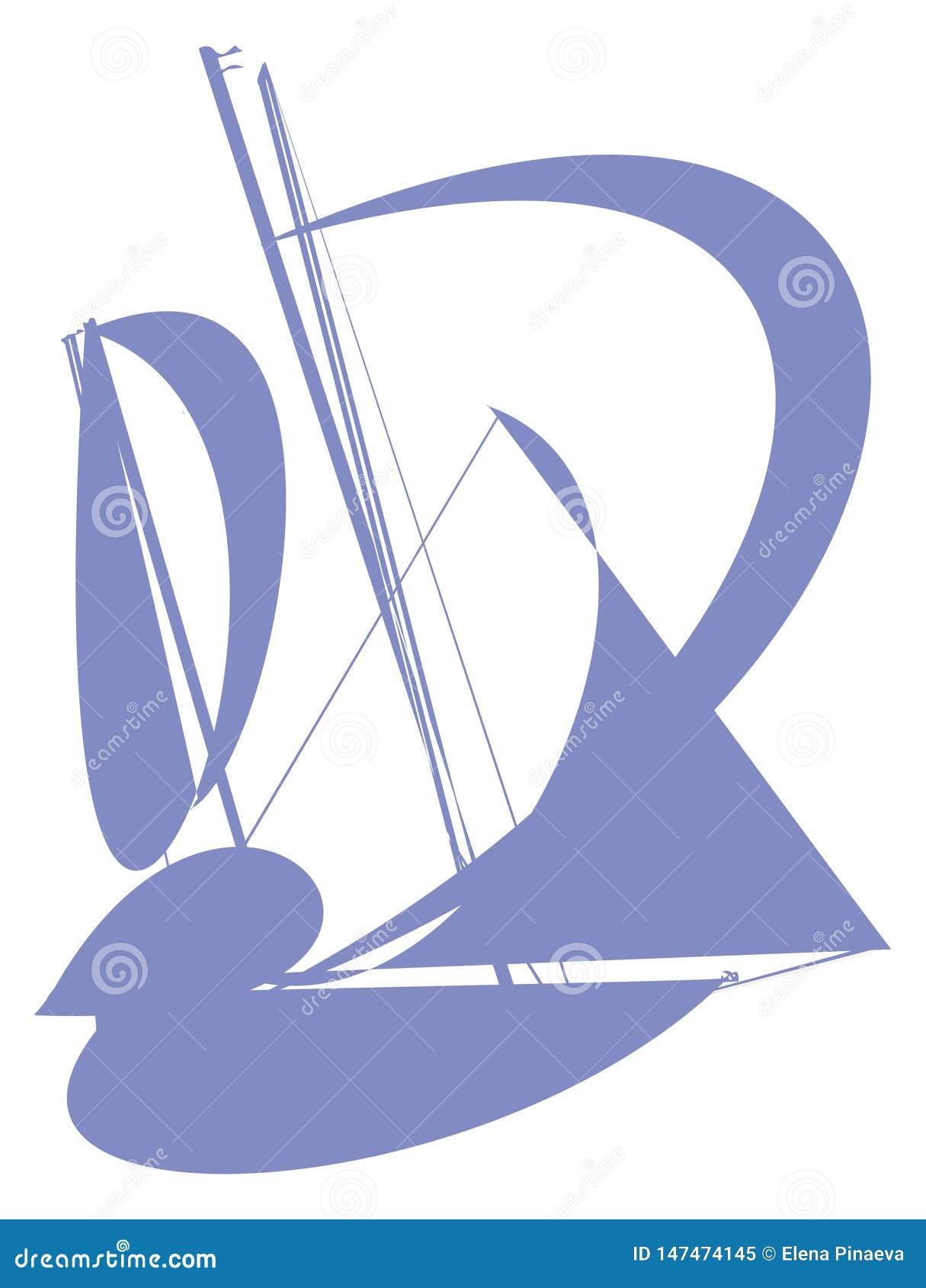 Sylwetka błękitni abstrakcjonistyczni jachty z żaglami na białym tle