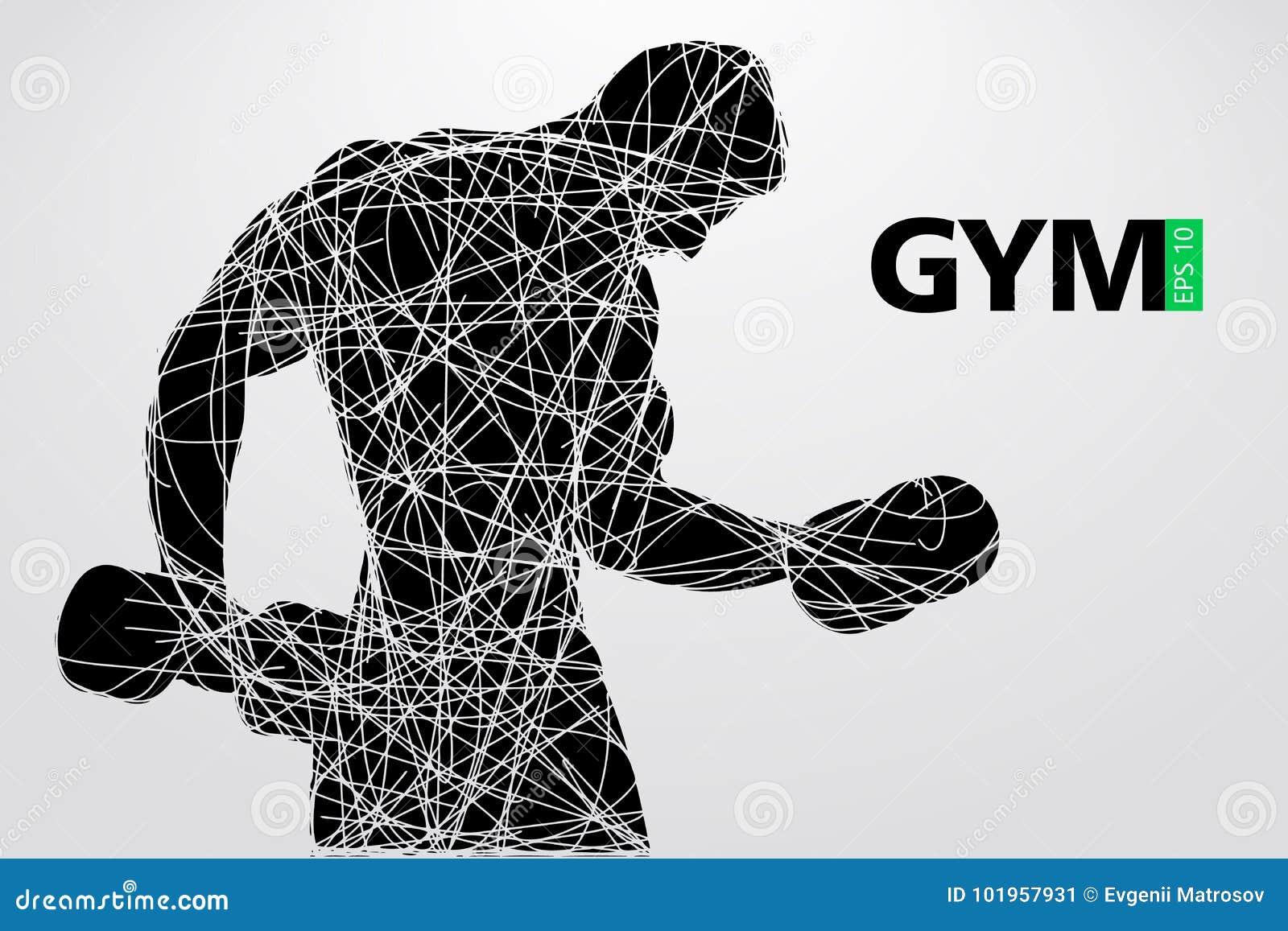 Sylwetka bodybuilder Gym loga wektor również zwrócić corel ilustracji wektora