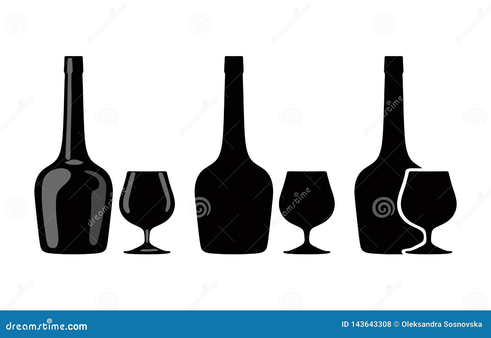 Sylwetka butelka koniak i szkło brandy wektor