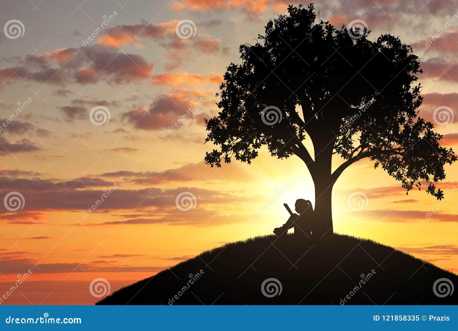 Sylwetka dziewczyna czyta książkę pod drzewem troszkę