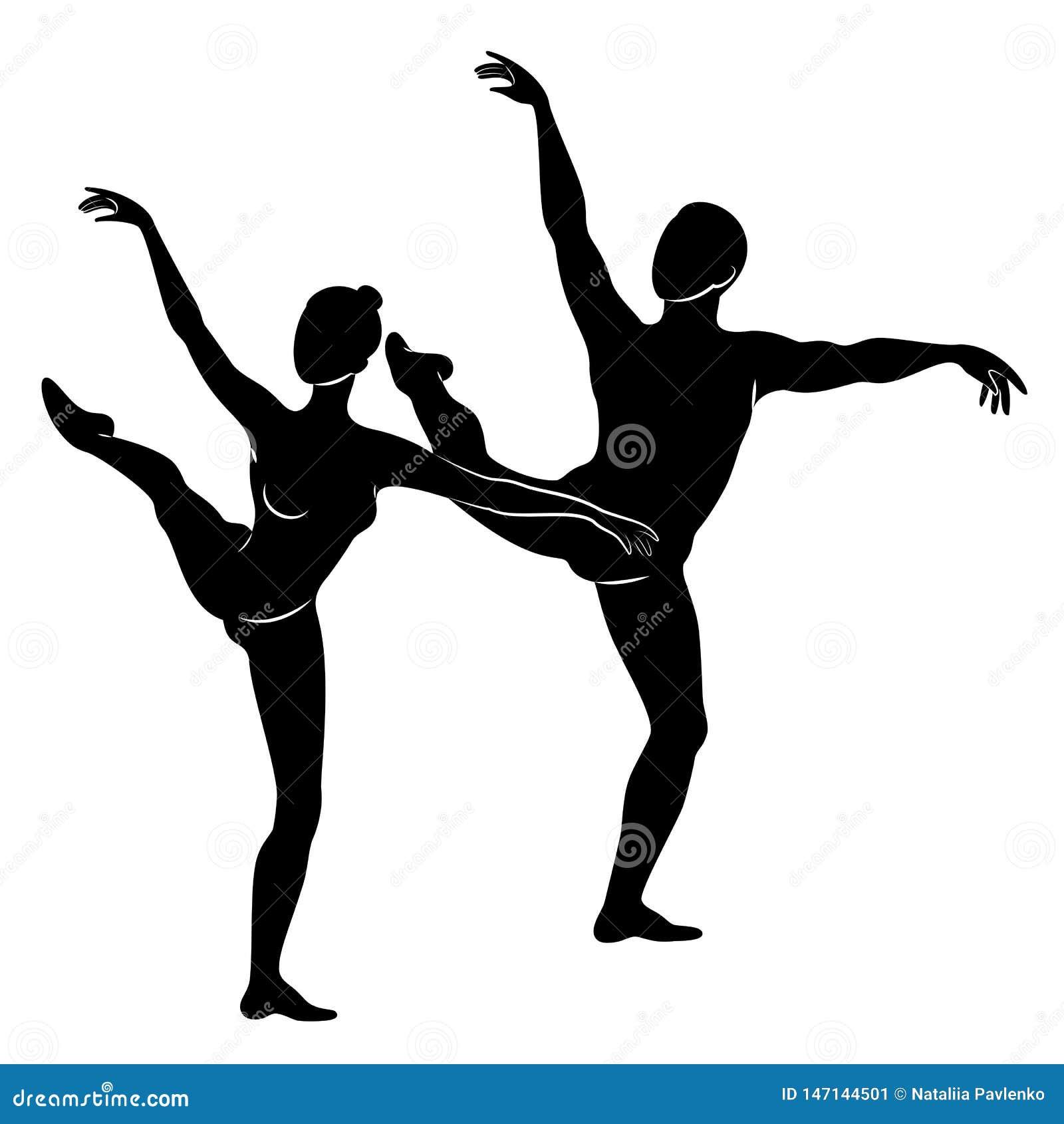Sylwetka ?liczna m?odo?? i dama, tancz? balet Kobieta i m??czyzna pi?kne nik?e postacie Dziewczyny balerina i
