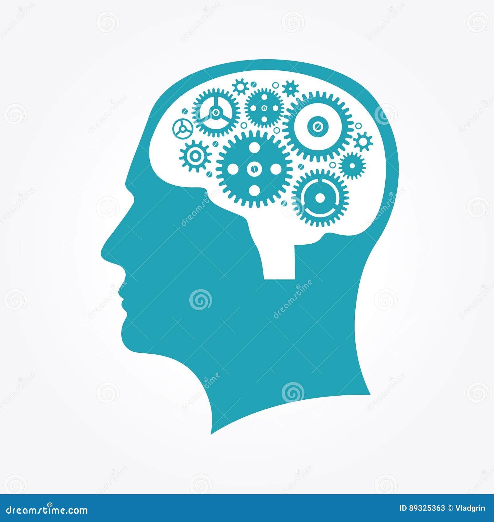 Sylwetka mężczyzna ` s głowa z przekładniami w formie mózg