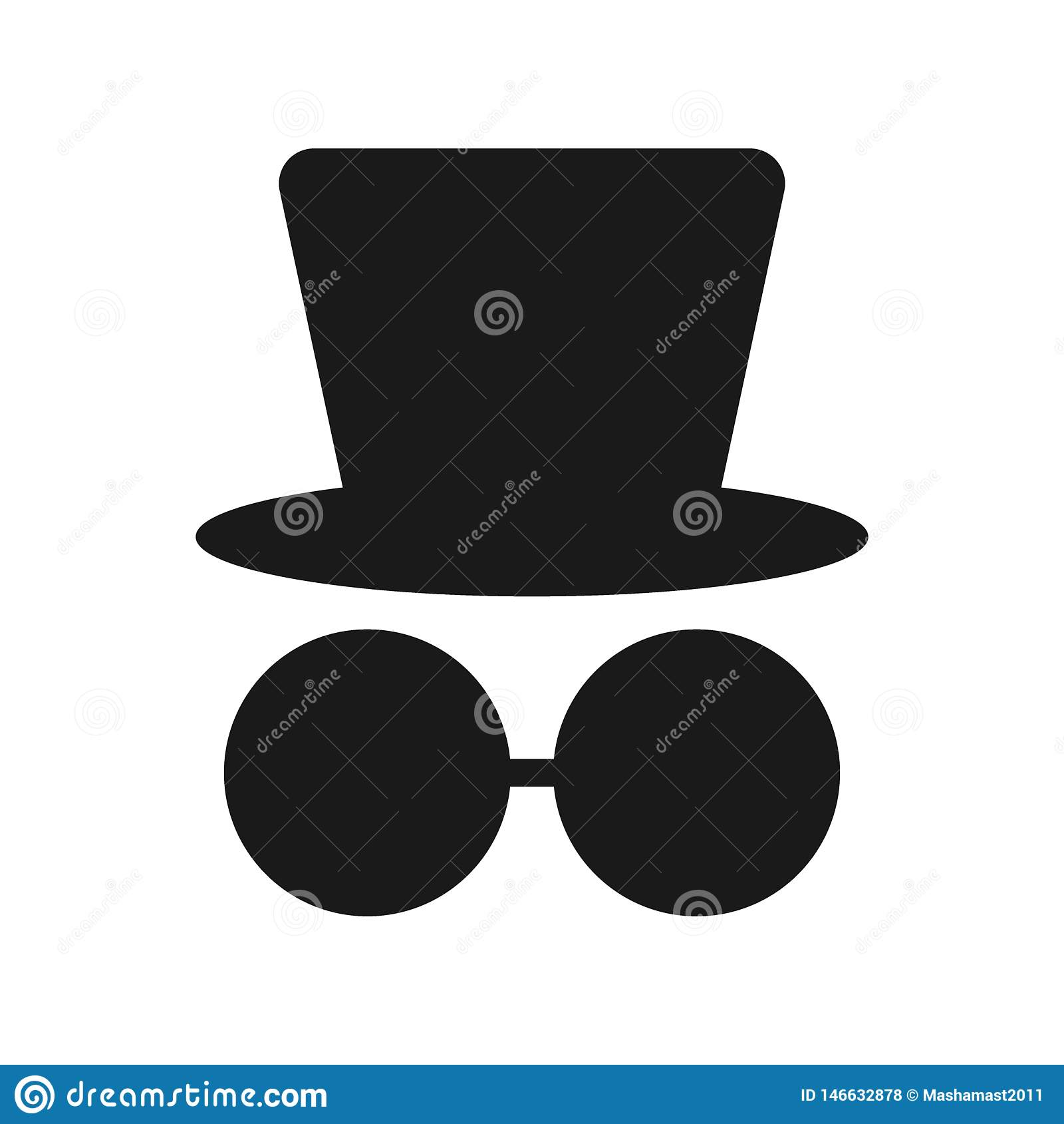 Sylwetka mężczyzna w kapeluszu i szkłach na białym tle