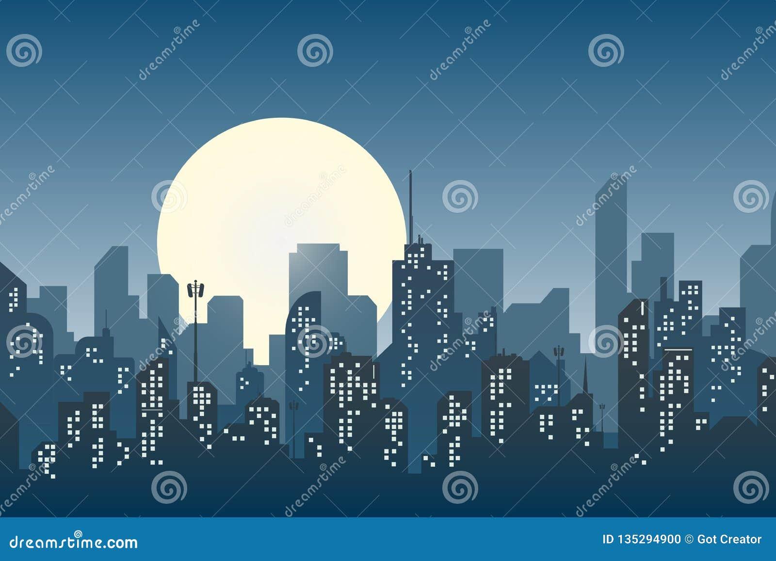 Sylwetka miasto w płaskim stylowym nowożytnym miastowym krajobrazie